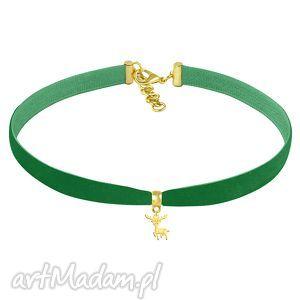 naszyjniki choker - green velvet, renifer, aksamitka, biżuteria, świąteczny
