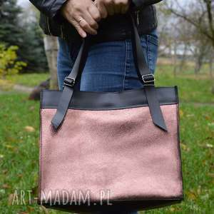 handmade na ramię skórzana torebka, czarno-różowa, shooper