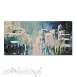 city blues, obraz ręcznie malowany, obraz, nowoczesny, wnętrze, miasto, malarstwo