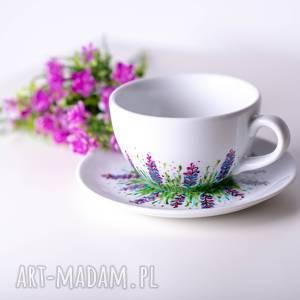 Prezent duża filiżanka ręcznie malowana kwitnąca łąka, filiżanka-do-kawy,