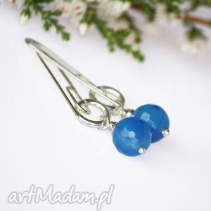 święta prezent blue agat kolczyki, agaty, wiszące, bernaś, prezent,