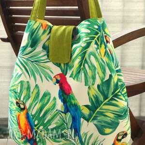na ramię torba / worek ramię, torba, worek, papugi, monstera, wzór botaniczny