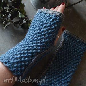 mitenki w kolorze jeans - rękawiczki, mitenki, niebieskie
