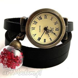 suszone kwiaty - zegarek bransoletka na skórzanym pasku, brasoletka