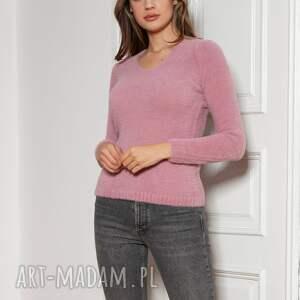swetry miękki, włochaty sweterek - swe147 róż, sweter, sweter na jesień, różowy