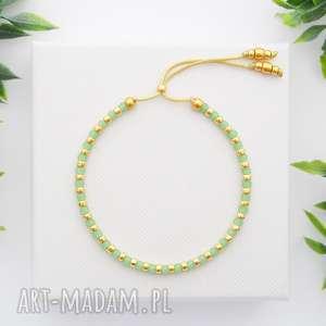 ręczne wykonanie bransoletka koralikowa minimal dots - green and gold