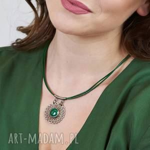 Prezent Naszyjnik srebrny z malachitem koronkowy a535 , srebro-malachit