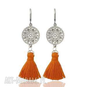 upominek na święta Kolczyki z chwostami Boho Rozetki - Orange (srebrne), styl-boho