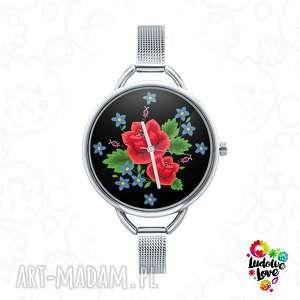 zegarki zegarek z grafiką róże, kwiat, róża, folk, etniczne, ludowe, kwiaty