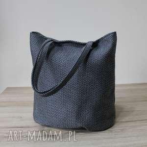 worek hobo - tkanina w jodełkę grey, elegancka, nowoczesna, pakowna, prezent