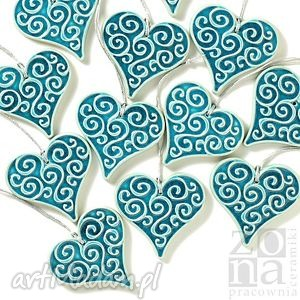 pracowniazona dwa serca turkusowe zwieszki w pudełku, seca, serduszka, zawieszki