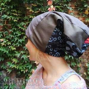 czapka damska dresówka patchwork kolorowa etno, czapka, boho