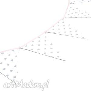 hand-made dla dziecka girlanda proporczyki chorągiewki 160 cm szare serduszka