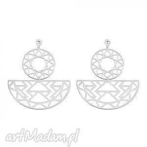 srebrne kolczyki z rozetkami - minimalistyczne, orientalne, srebro modne