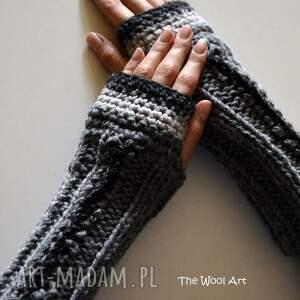 rękawiczki mitenki, rękawiczki, szary, wełniane