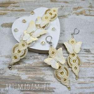 Prezent Komplet biżuterii z motylami - kremowo złoty, biżuteria-motyle