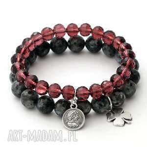 black labradorite & burgundy crystal set - labradoryt, moneta