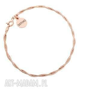 sotho pleciona bransoletka z różowego złota - pozłacana