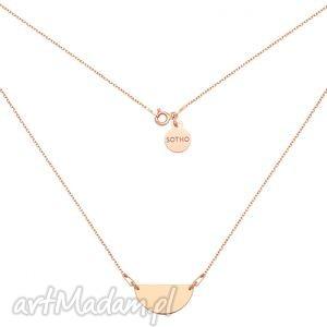 ręcznie robione naszyjniki naszyjnik z różowego złota z półokrągłą zawieszką