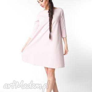 s/ m sukienka typu klosz wiosenna pudrowy róż, bawełna, dzianina, wiosna, eko