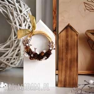 Upominek na święta: 2 domki z zimowym wiankiem dekoracje wooden