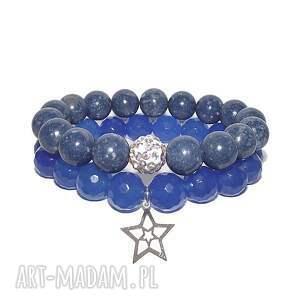 czakibransoletki komplet niebieski, gwiazdka, ażurowa, srebro, kamienie