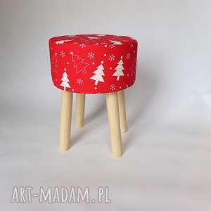 Fjerne M czerwona choinka stołek w stylu skandynawskim, stołekskandynawski,