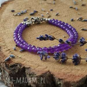 bransoletka lavender, upominek dla przyjaciółki, z kamieni