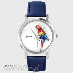 zegarek, bransoletka - papuga czerwona granatowy, skórzany