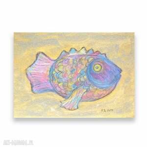 kolorowy rysunek z rybą, ryba obrazek ręcznie malowany, rybka grafika