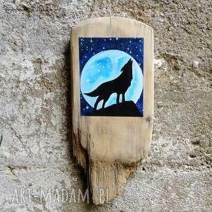 wilk, obrazek na drewnie, wyjący noc gwiazdy księżyc, rustykalny, malowany
