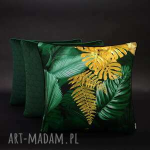 ręcznie wykonane poduszki komplet 3 poduszek paproć i musztarda 45x45cm welur velvet