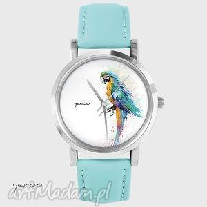 Zegarek, bransoletka - papuga turkusowy, skórzany zegarki yenoo