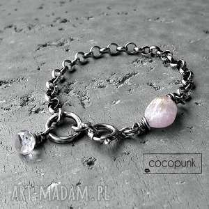 kunzyt i srebro - nowoczesna bransoleta - komplet biżuterii, z minerałami