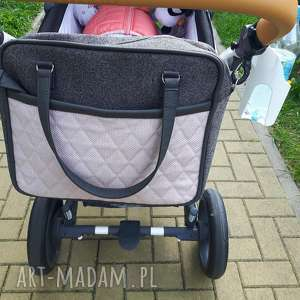 na ramię torba do wózka - szary i pudrowy róż, wózek, dziecko, pakowna, spacer