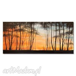 obrazy drzewa na skraju lasu, nowoczesny obraz ręcznie malowany, drzewa, zachód