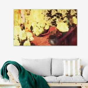 obraz do jadalni martwa natura z żółtymi kwiatami 100 x 60, nowoczesny