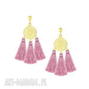 lavoga kolczyki z rozetą i różowymi chwostami - boho - złote