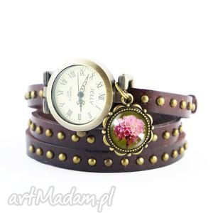 Bransoletka, zegarek - Retro lato brązowy, nity, skórzany, bransoletka, skórzana