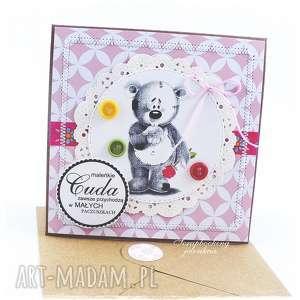 DZIECIĘCA KARTKA Z MISIEM #8, miś, dziewczynka, różowy, róża, urodziny, kwiat