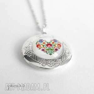 sekretnik, medalion, naszyjnik - serce folkowe otwierany, naszyjnik, medalion