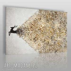 obraz na płótnie - jeleń beżowy brązowy 120x80 cm 49402, jeleń, artystyczny, kolory