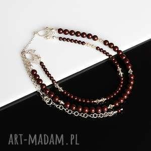 Maroony - naszynik, perły, swarovski, kryształy, srebro, naszyjnik