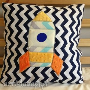 poduszka z aplikacją rakieta, poduszka, kosmos, bawełna