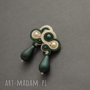 zielono-kremowe kolczyki sutasz, sznurek, wyjściowe, delikatne, eleganckie
