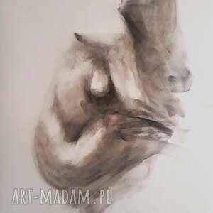 nude 100x70, duży obraz kobieta, rysunek węglem akt