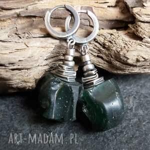 kolczyki ze srebra i szkła antycznego, szkło antyczne, rzymskie