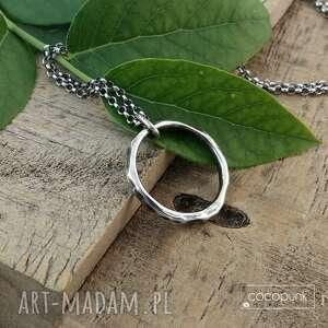 naszyjnik z kółkiem 2cm - srebro 925. - geometryczny delikatny, srebrny naszyjnik