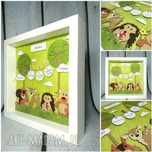 Metryczka - lesni przyjaciele, urodziny, narodziny, chrzest, las, jeżyk,