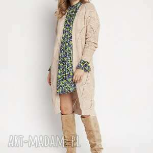 Ażurowy beżowy płaszczyk, pa011 beż mkm swetry dzianinowy